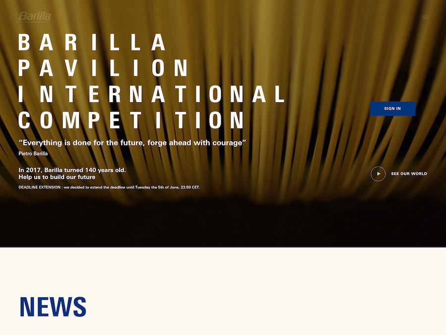 Kaleidoscope Digital Agency - Barilla Pavillion Competition - Home
